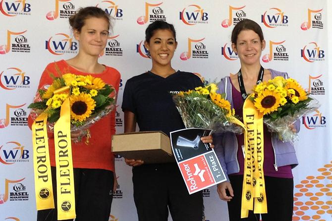 Die schnellsten Frauen des Halbmarathons: Rechts Andrea Turello als Dritte