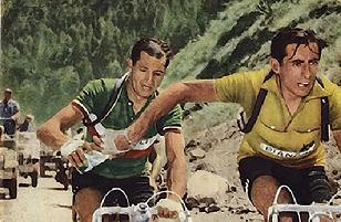 Der Mythos: Bartali (hinten) reicht Coppi eine Wasserflasche